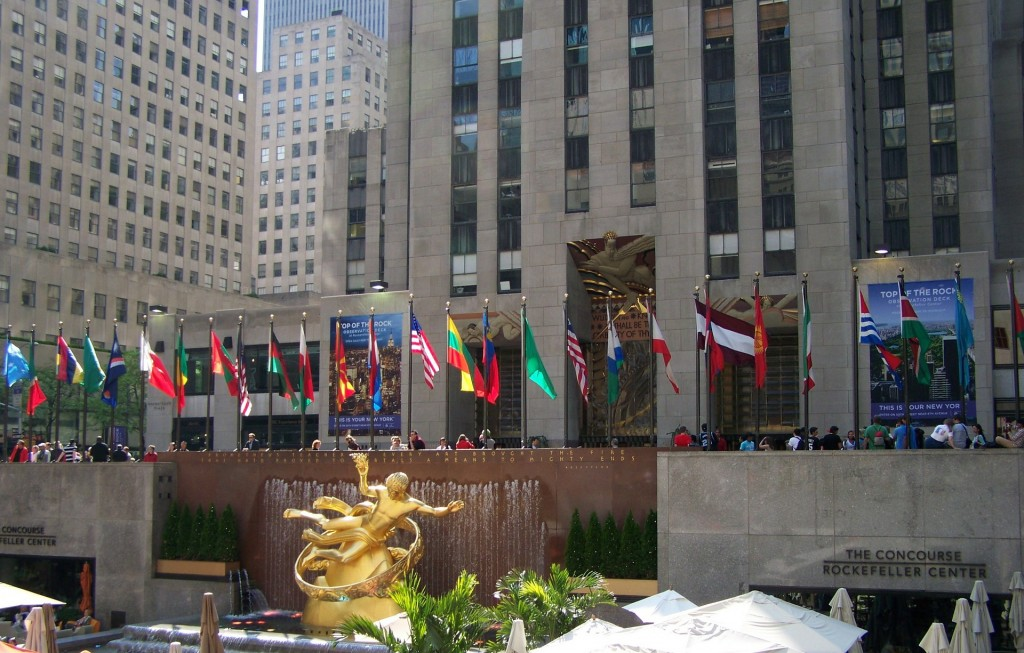 Locals and tourists alike enjoy the many different activities at Rockefeller Center.